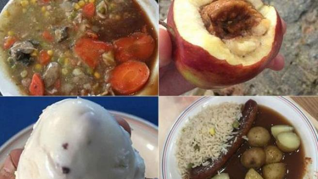 Algunas de las imágenes compartidas en Facebook por los soldados británicos y que muestran el mal estado de la comida que se les sirve en el Ejército.