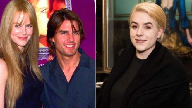 Isabella, junto a una imagen de principios de los 90 de sus padres Tom Cruise y Nicole Kidman.
