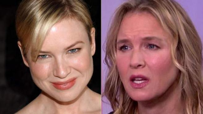 Renee Zellweger, en una imagen de la promoción de las anteriores entregas de Bridget Jones y en una captura de la entrevista en la NBC esta semana.