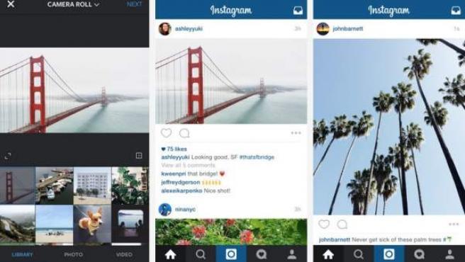 Capturas de los nuevos formatos que admite Instagram y su aspecto en la red social.