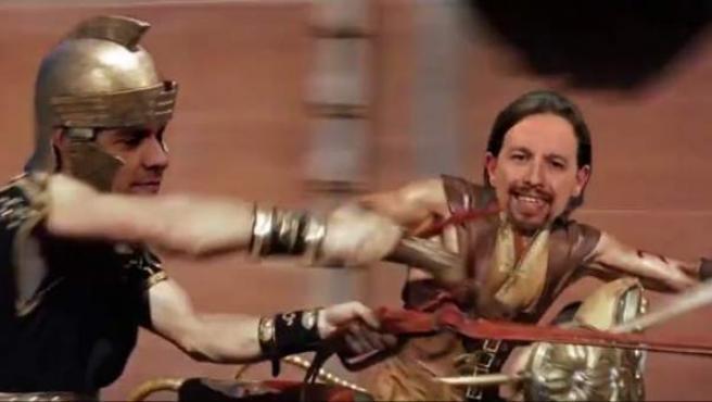 Pedro Sánchez y Pablo Iglesias protagonizan Ben-Hur en un vídeo viral.