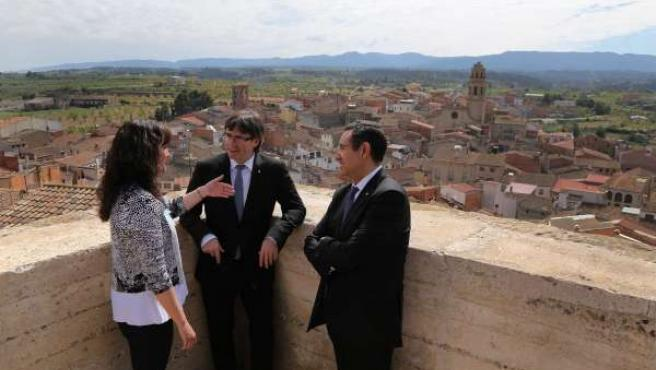 El presidente de la Generalitat, Carles Puigdemont, en L'Albi