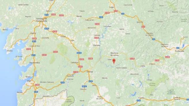 Localización en el mapa de Viladime de Abaixo en el municipio de Sober (Lugo), donde un menor ha sido atropellado por un tractor que conducía su padre.