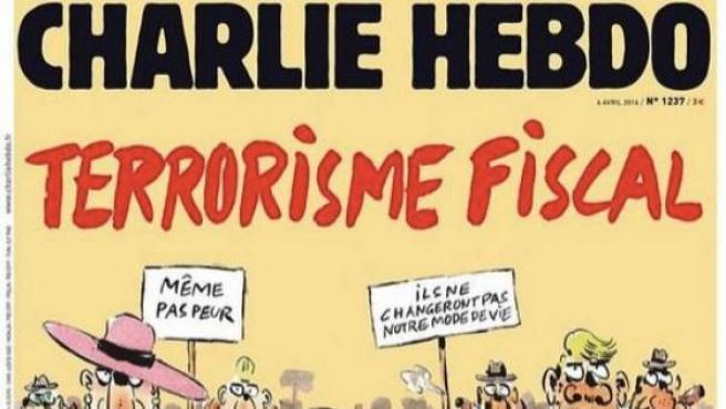 Imagen de la nueva portada de la revista satírica francesa Charlie Hebdo sobre los 'papeles de Panamá'