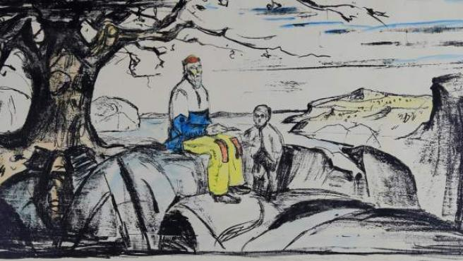Fotografía facilitada por la policía noruega que muestra la litografía 'Historia', de Edvard Munch, robada de una galería de Oslo en 2009 recuperada siete años después.