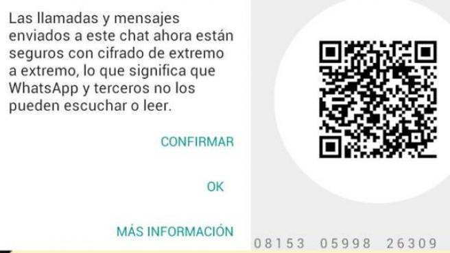 Aviso de cifrado aparecido en Whatsapp.