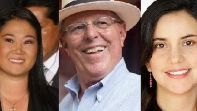 Keiko Fujimori, Pedro Pablo Kuczynski y Verónika Mendoza: los tres principales candidatos a la presidencia de Perú.