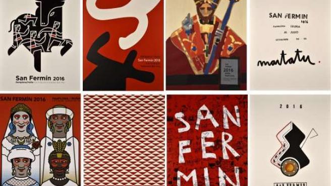 Los ocho carteles finalistas del concurso de Sanfermines 2016.