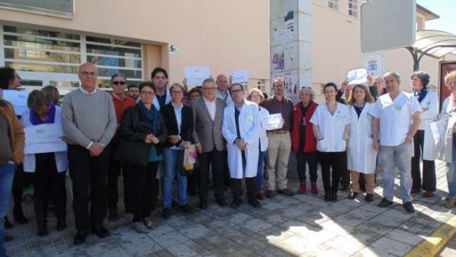 Protesta de profesionales sanitarios contra las agresiones.