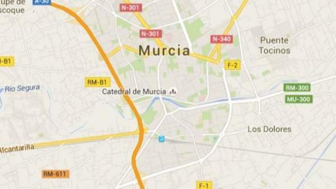 Mapa de la ciudad de Murcia.