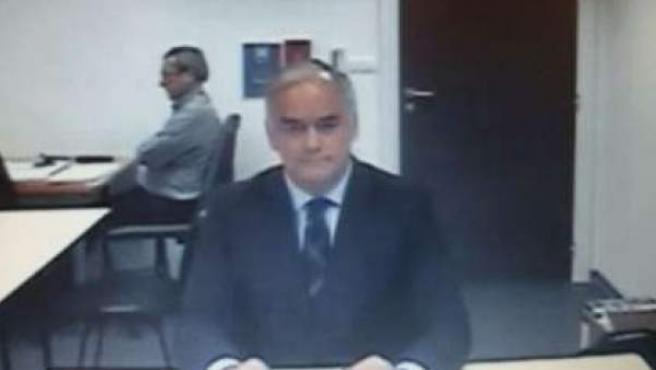 El eurodiputado del PP y exconseller de Presidencia valenciano, Esteban González Pons, durante su declaración por videoconferencia como testigo en el juicio del caso Nóos.