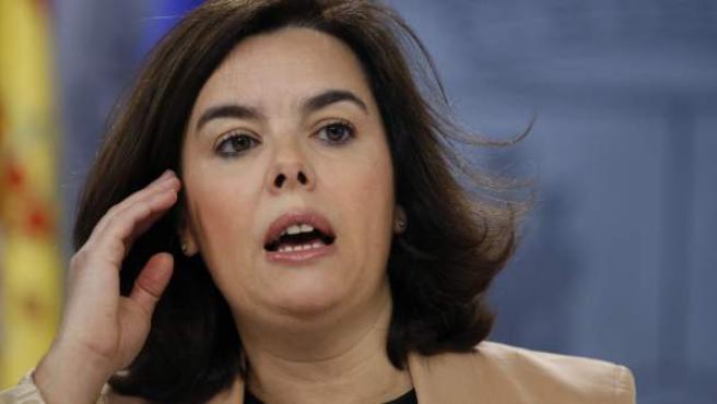 Soraya Sáenz de Santamaría, en la rueda de prensa posterior al Consejo de Ministros.