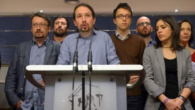 La cúpula de Podemos, en el anuncio de su consulta a las bases.