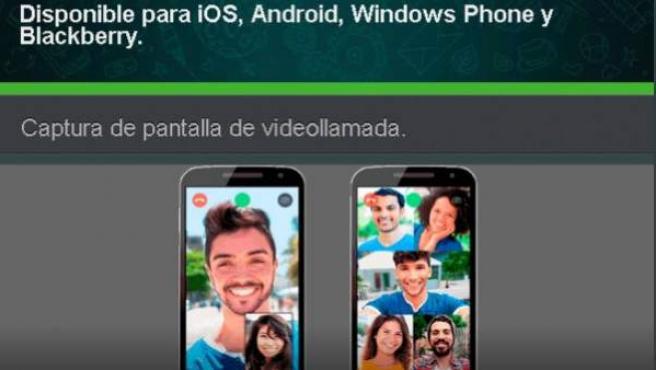 Imagen del mensaje de un servicio de videollamadas para Whatsapp fraudulento.