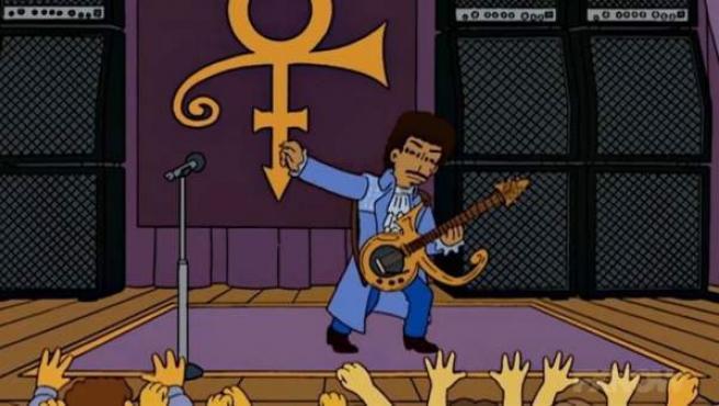 Prince en un capítulo de 'Los Simpson'.