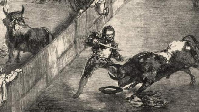 Litografía 'Plaza partida', perteneciente a la serie 'Los toros de Burdeos', pintada por Francisco de Goya entre 1824 y 1825