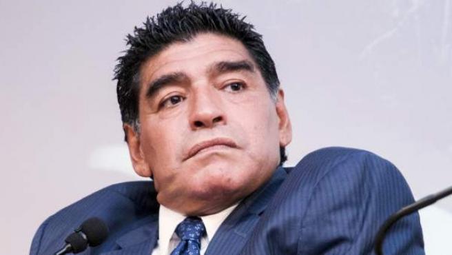 Diego Armando Maradona en rueda de prensa.