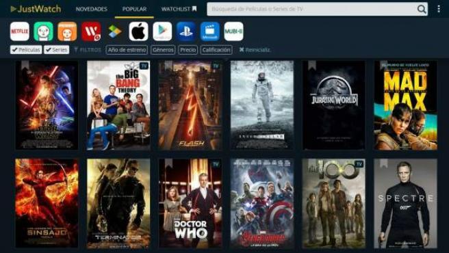 El servicio de búsqueda de películas y series 'JustWatch'.