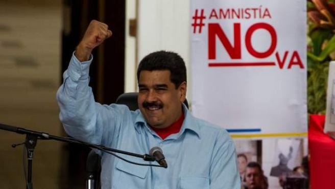 El presidente venezolano, Nicolás Maduro, participa en la manifestación contra la ley de amnistía aprobada en la Asamblea Nacional.