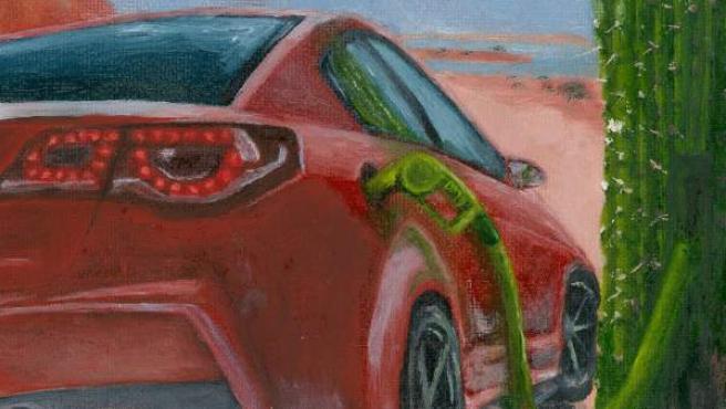 Ilustración facilitada por Jesse Hawley del cáctus que inspiró el desarrollo de una nueva membrana que puede mejorar la eficiencia de las pilas de combustible.