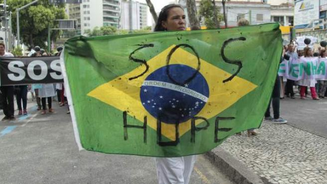 Protestas por los recortes en sanidad en Río de Janeiro el pasado mes de enero.