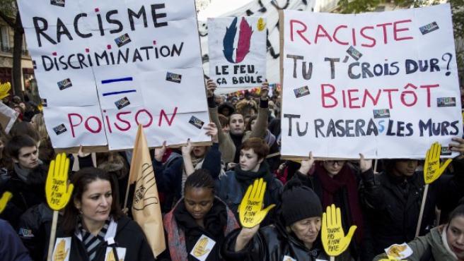 Manifestación contra el racismo en Francia.