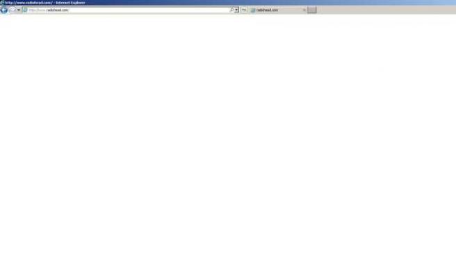 La página web de Radiohead, completamente en blanco.