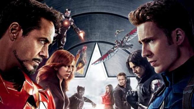 Detalle de uno de los pósters de 'Capitán América: Civil War'