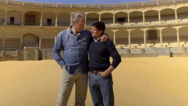 Bertín Osborne, junto al torero Fran Rivera en 'Mi casa es la tuya'.