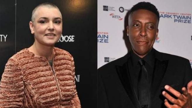 La cantante Sinéad O'Connor y el actor Arsenio Hall