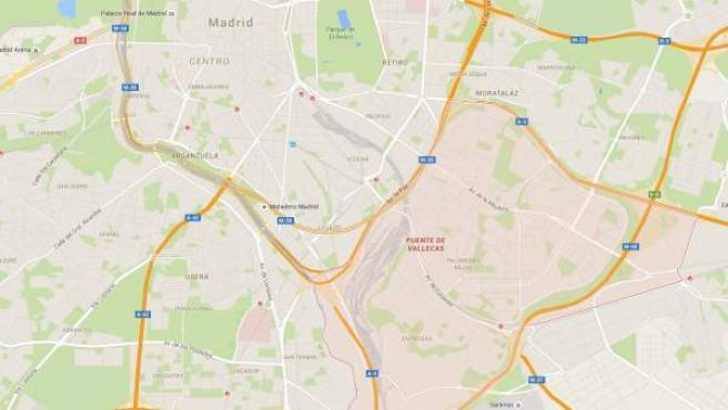 Localización del barrio madrileño de Puente de Vallecas, donde ocurrieron los hechos.