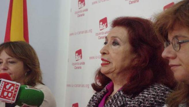 Lidia Falcón, presidenta del Partido Feminista, durante una rueda de prensa en una imagen de archivo.