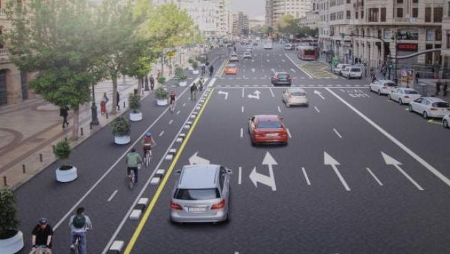 Recreación del futuro anillo ciclista de Valencia en la calle Xàtiva