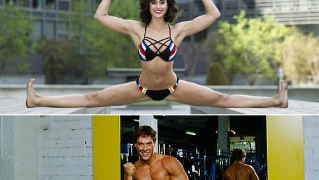 El actor Jean-Claude Van Damme y su hija Bianca Brigitte muestran su enorme elasticidad.
