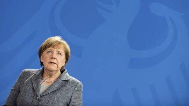Angela Merkel en rueda de prensa.