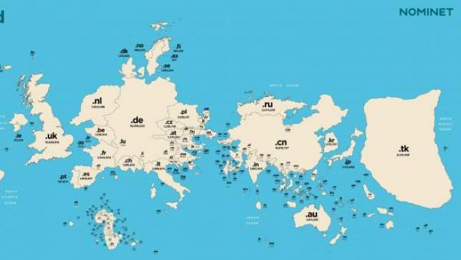 Así cambiaría el tamaño de los países en función del uso de los dominios.