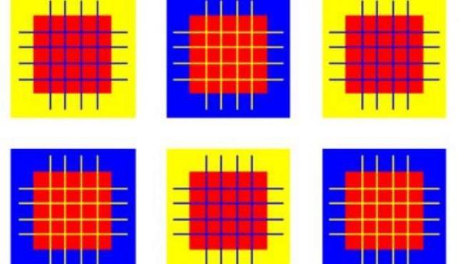 Efecto óptico basado en cuadrados y líneas de colores.