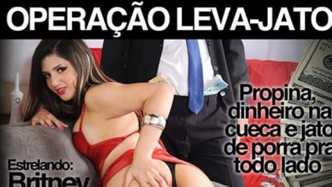 Cartel de la película porno 'Operação: Leva jato', que se basa en la trama de corrupción destapada en la petrolera estatal Petrobras en 2014.
