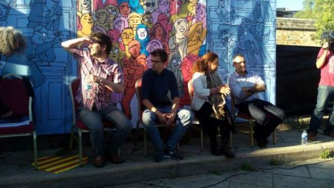 Íñigo Errejón junto a los dirigentes baleares de Podemos