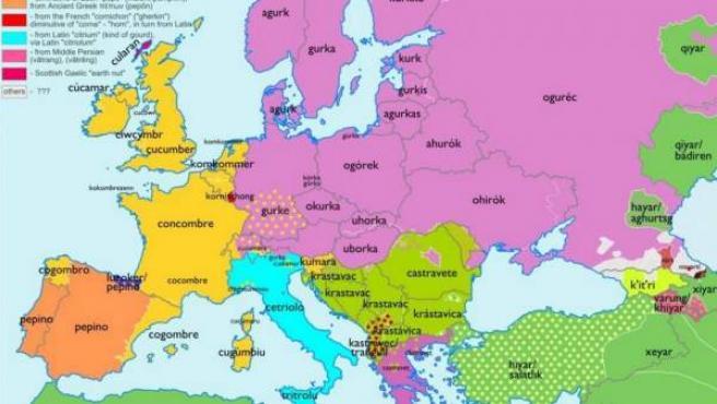 Un usuario de Reddit ha creado espectaculares mapas etimológicos para conocer mejor las lenguas europeas. En la imagen, la de la palabra 'pepino'.