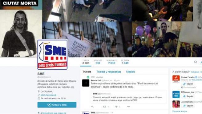 Secuestro de la cuenta de Twitter de los Mossos.