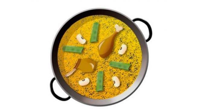 Diseño de un emoji de la paella, con los ingredientes tradicionales.