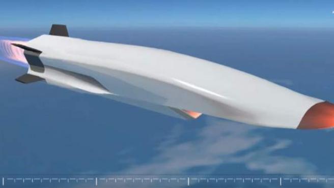 Una simulación de un modelo de avión hipersónico.