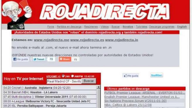 Imagen de la página web Rojadirecta.