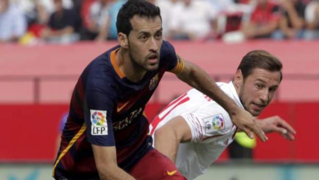 El centrocampista del FC Barcelona Sergio Busquets, en un partido del equipo culé.
