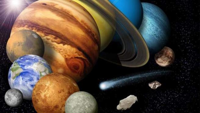 Recreación de los planetas del Sistema Solar.