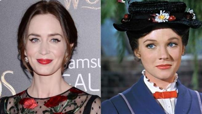 Las actrices Emily Blunt y Julie Andrews, que estarán unidas por el papel de Mary Poppins.