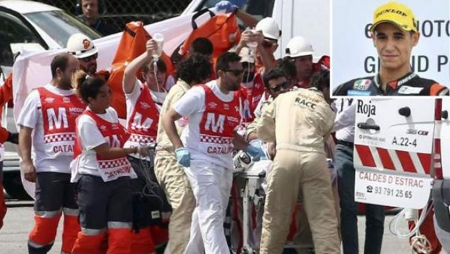Montaje con el momento en el que Luis Salom era evacuado de la pista de Montmeló y una imagen del piloto balear.