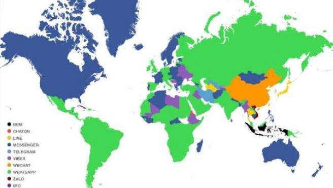 Mapa del mundo realizado a partir de los sistemas de mensajería que se usa más en cada país.