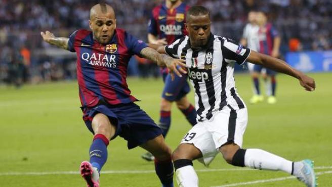 Dani Alves, en la final de la Champions de 2015, que enfrentó a su ya exequipo, el Barça, con su nuevo club, la Juventus.